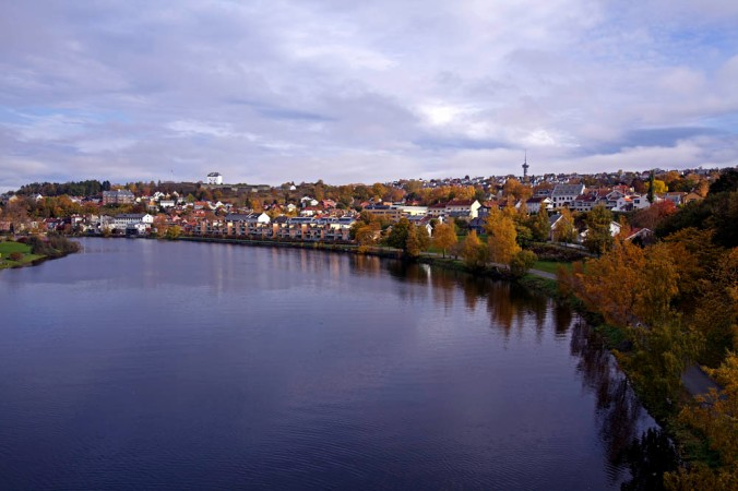 The river Nidelva runs through the City of Trondheim. The river, once very polluted, now is clean and fishing salmon is common.